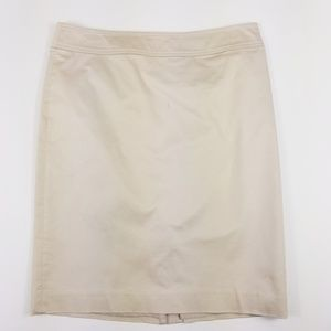 LOFT khaki stretch pencil skirt beige knee length